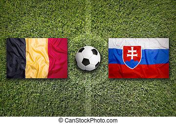 belgique, vs., slovaquie, drapeaux, sur, champ football