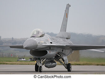 belgium airforce f16 - b.a.f f16 taxing in raf leuchars