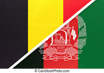 Belgium and Afghanistan, symbol of two national flags from textile. Relationship, partnership and championship between Asian and European countries.