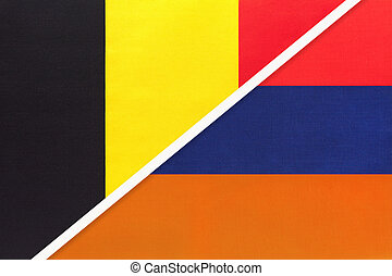Belgium and Armenia, symbol of two national flags from textile. Relationship, partnership and championship between Asian and European countries.