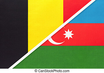 Belgium and Azerbaijan, symbol of two national flags from textile. Relationship, partnership and championship between Asian and European countries.