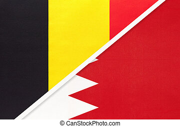 Belgium and Bahrain, symbol of two national flags from textile. Relationship, partnership and championship between Asian and European countries.
