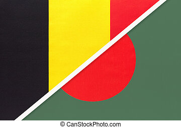 Belgium and Bangladesh, symbol of two national flags from textile. Relationship, partnership and championship between Asian and European countries.