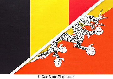 Belgium and Bhutan, symbol of two national flags from textile. Relationship, partnership and championship between Asian and European countries.