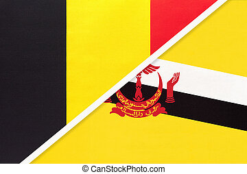 Belgium and Brunei, symbol of two national flags from textile. Relationship, partnership and championship between Asian and European countries.