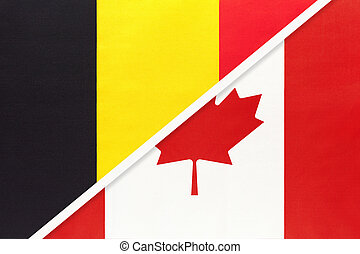 Belgium and Canada, symbol of two national flags from textile. Championship between two countries.