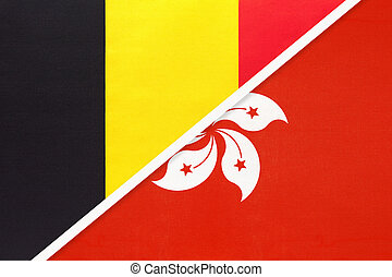 Belgium and Hong Kong, symbol of two national flags from textile. Relationship, partnership and championship between Asian and European countries.