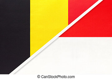 Belgium and Indonesia, symbol of two national flags from textile. Relationship, partnership and championship between Asian and European countries.