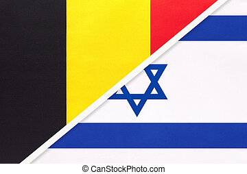 Belgium and Israel, symbol of two national flags from textile. Relationship, partnership and championship between Asian and European countries.