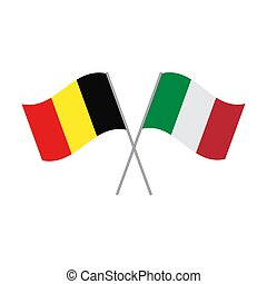Belgium and Italy flags vector isolated on white