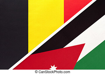 Belgium and Jordan, symbol of two national flags from textile. Relationship, partnership and championship between Asian and European countries.