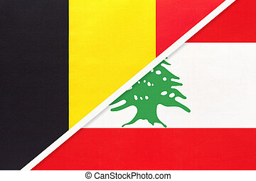 Belgium and Lebanon or Lebanese Republic, symbol of two national flags from textile. Relationship, partnership and championship between Asian and European countries.