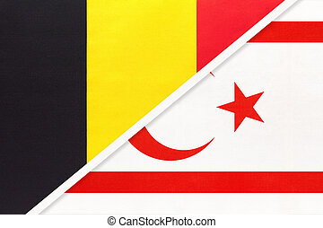 Belgium and Northern Cyprus or TRNC, symbol of two national flags from textile. Relationship, partnership and championship between Asian and European countries.