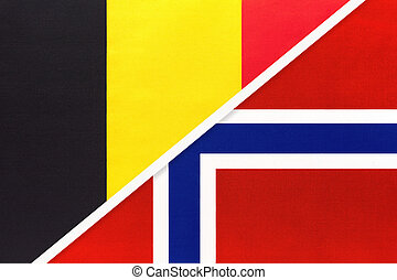 Belgium and Norway, symbol of national flags from textile. Relationship, partnership and championship between two European countries.
