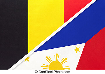 Belgium and Philippines, symbol of two national flags from textile. Relationship, partnership and championship between Asian and European countries.