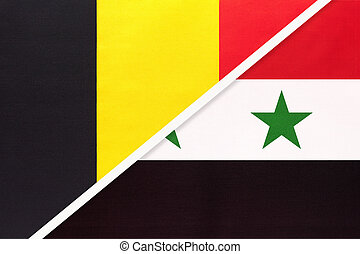Belgium and Syrian Arab Republic or Syria, symbol of two national flags from textile. Relationship, partnership and championship between Asian and European countries.