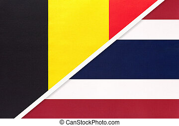 Belgium and Thailand or Siam, symbol of two national flags from textile. Relationship, partnership and championship between Asian and European countries.