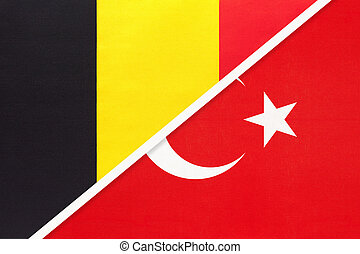 Belgium and Turkey, symbol of two national flags from textile. Relationship, partnership and championship between Asian and European countries.