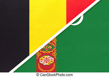 Belgium and Turkmenistan or Turkmenia, symbol of two national flags from textile. Relationship, partnership and championship between Asian and European countries.