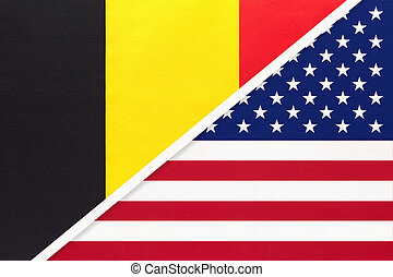 Belgium and United States of America or USA, symbol of two national flags from textile. Relationship, partnership and championship between American and European countries.
