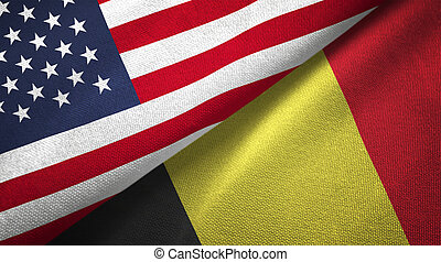 Belgium and United States flags together realtions textile cloth fabric texture
