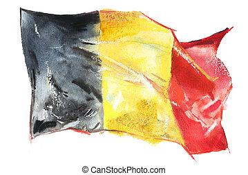 Belgium, Belgian flag. Hand drawn watercolor illustration.