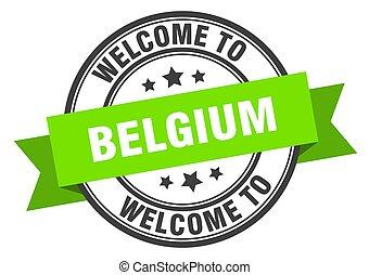BELGIUM - Belgium stamp. welcome to Belgium green sign