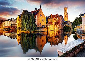 Belgium - Brugge, Rozenhoedkaai with Perez de Malvenda house...