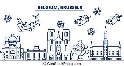 Belgium, Brussels winter city skyline. Merry Christmas, Happy New Year decorated banner with Santa Claus.Winter greeting line card.Flat, outline vector.Linear christmas snow illustration