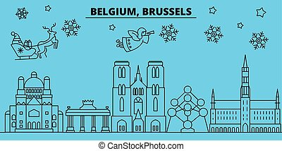 Belgium, Brussels winter holidays skyline. Merry Christmas, Happy New Year decorated banner with Santa Claus.Belgium, Brussels linear christmas city vector flat illustration