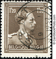 king Leopold III - BELGIUM - CIRCA 1952: A stamp printed by ...