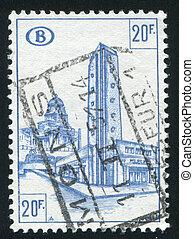 Railroad station - BELGIUM - CIRCA 1953: stamp printed by ...