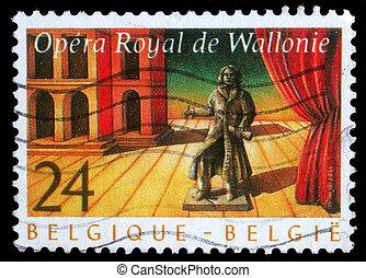 BELGIUM - CIRCA 1987: stamp printed by Belgium shows Royal ...