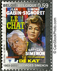 """BELGIUM - CIRCA 2003: A stamp printed in Belgium shows Poster for """"The Cat"""", created by Georges Simenon (1903-1989), circa 2003"""