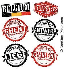 Belgium cities stamps
