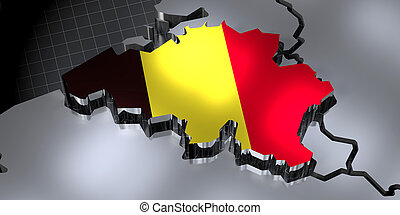Belgium - country borders and flag - 3D illustration
