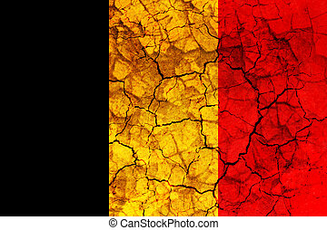 belgium country flag painted on a cracked grungy wall