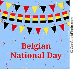 Belgium day - Belgian flag bunting. Background for National...
