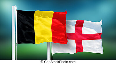 Belgium - England, 3rd place match of soccer World Cup, Russia 2018 National Flags.