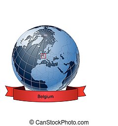 Belgium, position on the globe Vector version with separate...