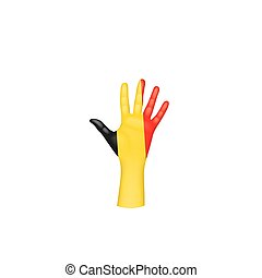 Belgium flag and hand on white background. Vector illustration.