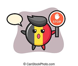 Belgium flag badge character illustration holding a stop sign