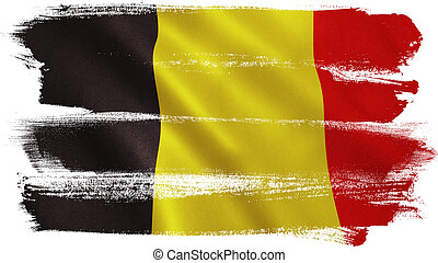 Belgium flag background with fabric texture. 3D illustration.