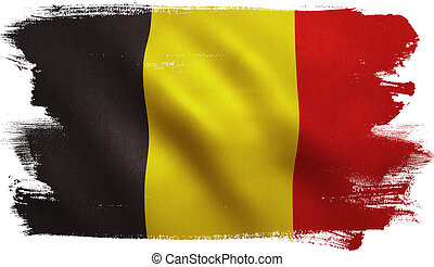 Belgium flag with fabric texture. 3D illustration.