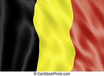 Belgium Flag Blowing In Wind