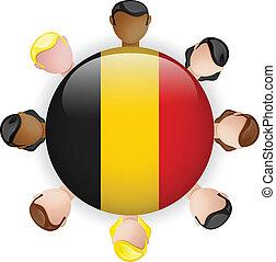 Belgium Flag Button Teamwork People Group