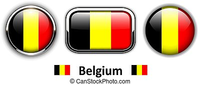 Belgium flag buttons, 3d shiny vector icons.