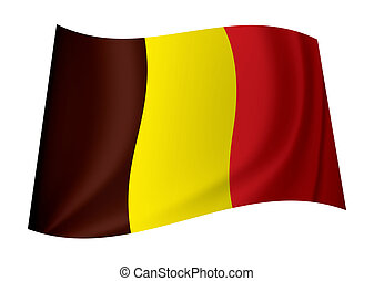 Belgium flag icon symbol flying in the wind with ripples