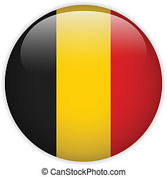 Belgium Flag Glossy Button - Vector - Belgium Flag Glossy...