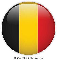 Belgium Flag Glossy Button - Vector - Belgium Flag Glossy...